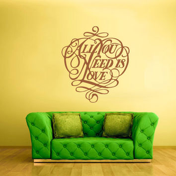rvz813 Wall Vinyl Sticker Bedroom Decal All You Need Is Love Words Font