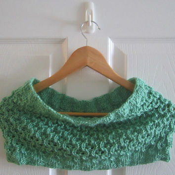 Eco Friendly Cowl - Hand Knit Neckwarmer - Infinity Scarf - Knitted Cowl - Green Cowl - Reversible Cowl - Green Neck Warmer - Tube Scarf
