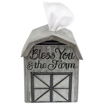 Bless You and The Farm - Barn Shaped Tissue Box Cover