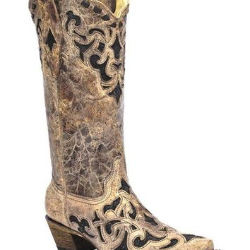 ICIKAB3 Corral Brown & Black Stingray Inlay Snip Toe Boots