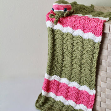 Handmade Baby Blanket and Stuffed Octopus - Crochet Baby Chevron Afghan - Green and Pink Yarn Baby Throw Crib Blanket