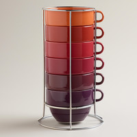Jumbo Warm Ombre Stacking Mugs, Set of 6 - World Market