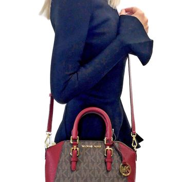 MICHAEL KORS CIARA MESSENGER BAG MK SIGNATURE PVC LEATHER CROSSBODY BROWN CHERRY