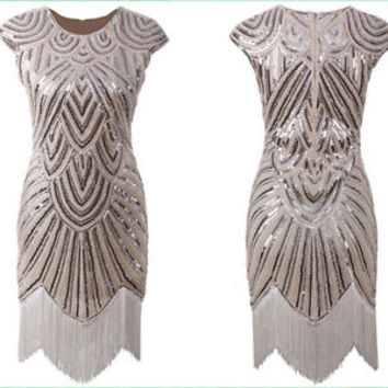 20s 1920s Flapper Dress Gatsby Charleston Fringe Sequin Dress Plus Size S M L XL