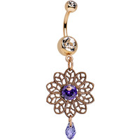 Handcrafted Clear Purple CZ Rose Gold Plated Lace Dangle Belly Ring | Body Candy Body Jewelry