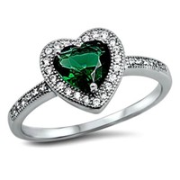 .925 Sterling Silver Green Emerald Heart Halo Ring Ladies Size 5-10 Solitaire with Accents
