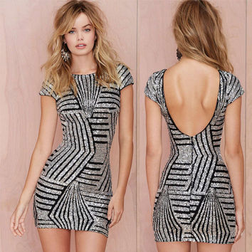 Sexy Women Fashion Sequins Bodycon Party Club Short Sleeve Mini Dress Backless New Silver Gold