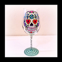 Dia De Los Muertos, Day of the Dead, Wine Glass, Skull, Calavera, Mexican, Latin, Folk Art, Spanish, Urban, Gift, Hand Painted, Barware