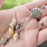 Shell and Starfish Dangle Belly Button Jewelry Ring