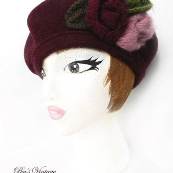 Vintage Burgundy Rose Flower Tam / Beret Hat, Toucan New York Fashion Felt & Angora Hat