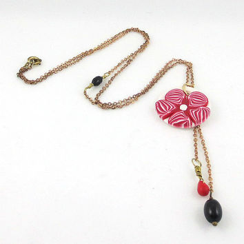 Red and White Flower Necklace, Polymer Clay Pendant, Red Millefiori, Ecofriendly Mixed Media Assemblage Jewelry, Vintage Glass Beads