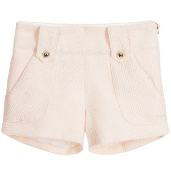 Chloé Girls Blush Pink Tweed Shorts