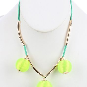 Green Color Cord Wrapped Chunky Ball Charm Bib Necklace