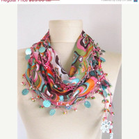 Hearts Multicolor Turkish Yemeni OYA Scarf ..authentic, romantic, elegant, fashion