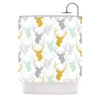 "Pellerina Design ""Scattered Deer White"" Gold Green Shower Curtain"