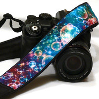 Bubbles Camera Strap. DSLR SLR Camera Strap. Multicolor Camera Strap. Camera Accessories