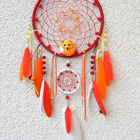 Red Dream Catcher, handmade dream catcher with fox, Wall Hanging, Hippie Wedding Decor, Nursery Decor, Boho Dream Catcher Home Decor, foxes