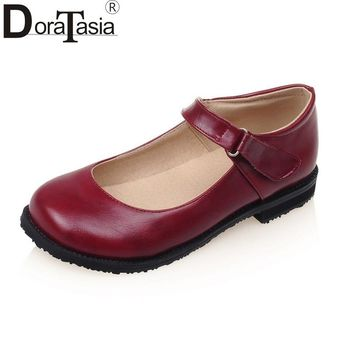 DoraTasia Women's Mary Jane Shoes Woman Round Toe Rubber Sole Comfortable Flat Oxfords Big Size 31-43