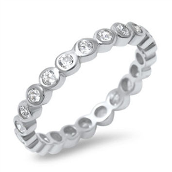 Sterling Silver Eternity Stacking Style Ring with Bezel Set CZ