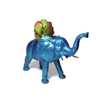 Up-cycled Glittery Blue Elephant Planter
