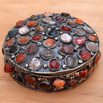 Afghan Kuchi Gemstone Jewelry Box,Agate Stone Antique Treasure Trinket,Ornate Engraved Boho Trinket Box,Carved Gypsy,Desk Decor Jewelry Box