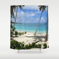 Blue Beach Shower Curtain by Chido Things