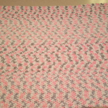 Pink, Grey, and White Variegated Crochet Baby Blanket