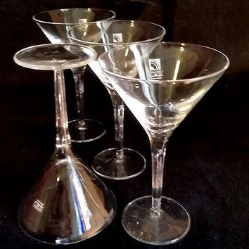 "Luigi Bormioli ""Light & Music Crystal Martini Glasses  Made In Italy  S/3"