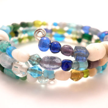 Wrap Around Bracelet in Blue Hues by Septagram on Etsy