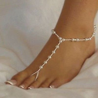 1pc Stylish Barefoot Sandal Bridal Beach Pearl Chain Anklet Foot Jewellery Hot = 5658256001