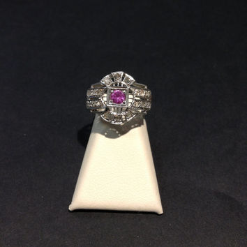 18k White Gold Art Deco Pink Sapphire and Diamond Ring