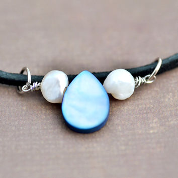 Blue and White Mother of Pearl, Black Suede Choker Bead Necklace, Womens Teen Jewelry, Wife Girlfriend Mom Sister Daughter Friend Gift