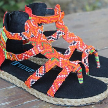 Boho Womens Gladiator Sandals In Tangerine Hmong Embroidery Summer Shoes Isadora