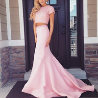Short Sleeve Two Piece Prom Dresses