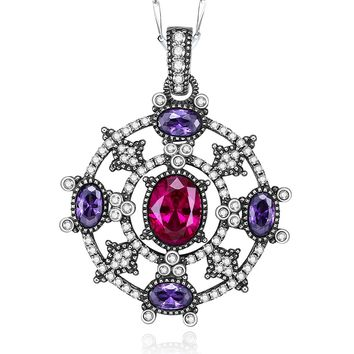 Merthus 925 Sterling Silver Antique Boho Pave Ruby & Amethyst Pendant Necklace Jewelry for Women,18""