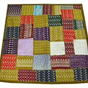 Indian Sari Tapestry Yellow Embroidered Patchwork Wall Hanging Throw(60x40))