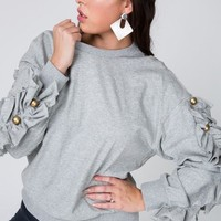 Frill & Button Sleeve Pullover