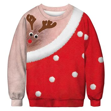 Funny Digital Print Bare Chest Ugly Christmas Sweatshirts Christmas Party Ugly Xmas Sweatshirt for Women