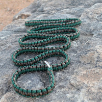 Macrame slip lead dog leash, greeen and dark brown camo paracord leash, 6'
