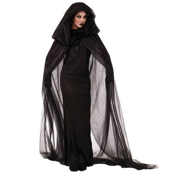 Gothic Punk Women Adult Horror Halloween Costumes Scary Ghost Bride from Hell Costume (Size: M)