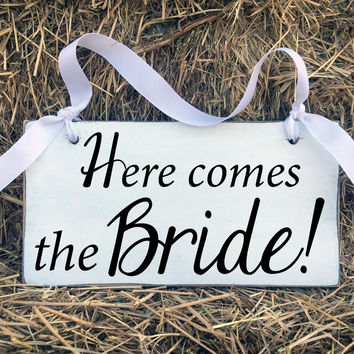 Wedding Signs, Here Comes The Bride, Bridal Shower Gift, Rustic Barn Wedding, Engagement Gift, Flower Girl, Wedding Gift, Black and White