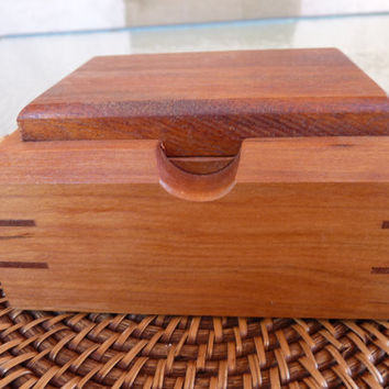 Small Treasure Box Series: Handcrafted Treasure/Jewelry/ Keepsake Box in Cherry with Mahogany Lid