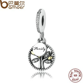 925 Sterling Silver Jewelry FAMILY TREE SILVER DANGLE WITH AND CLEAR ZIRCONIA CHARM Fit Bracelet Jewelry Making PAS306