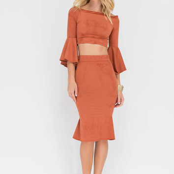 Luxe Good Off-Shoulder Top 'N Skirt Set