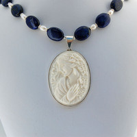 Cameo, Lapis Lazuli & Pearl Sterling Silver Necklace - Hand Carved Bone - Free Gift Wrap