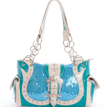 * Sequin Leatherette Handbag In Turquoise