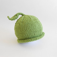 Little Sprout Newborn Roll Brim Hat with Leaf Organic Baby Beanie Knit Photo Prop Boy or Girl Spring Cap Granny Smith Apple Green