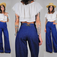 indigo DENIM vtg 70's bell bottom JEANS High waist military SAILOR palazzo denim flares