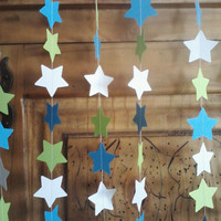 Paper STAR Garland  Sea Blue Lime Green White Perfect for Birthdays Baby Showers Parties All Occasions Choose Any 3 Colors 10 FEET LONG