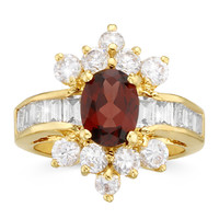Genuine Garnet and Cubic Zirconia Cluster Ring